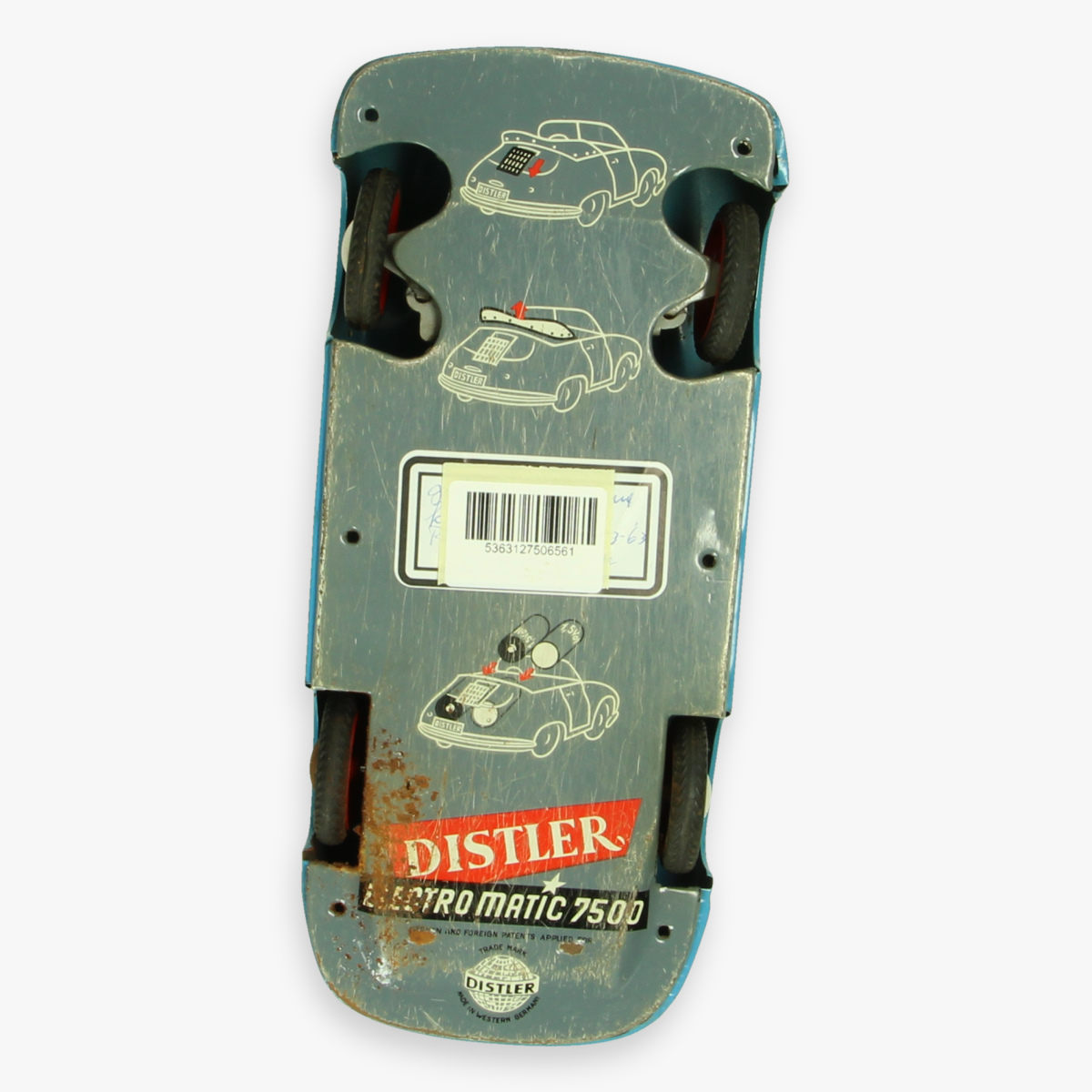 Afbeeldingen van tin toy distler porche 356 blauw jaren 50 electro matic 7500