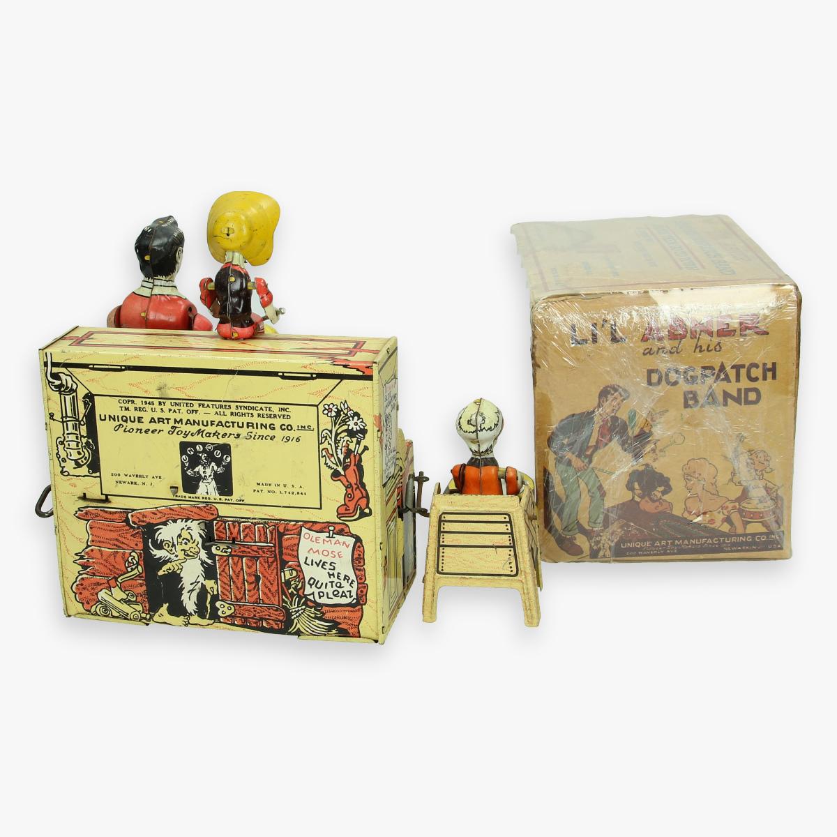 Afbeeldingen van blikken li'l abner and his dogpatch band unique art usa 1945 boxed zeldzaam in doos