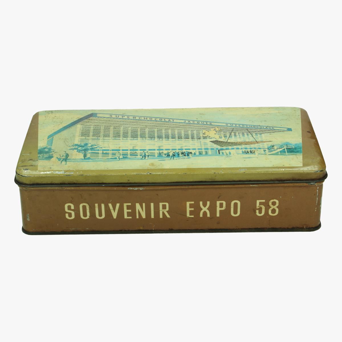 Afbeeldingen van expo 58 blikken doos superchocolade jacques aandenken tentoonstelling  expo 58