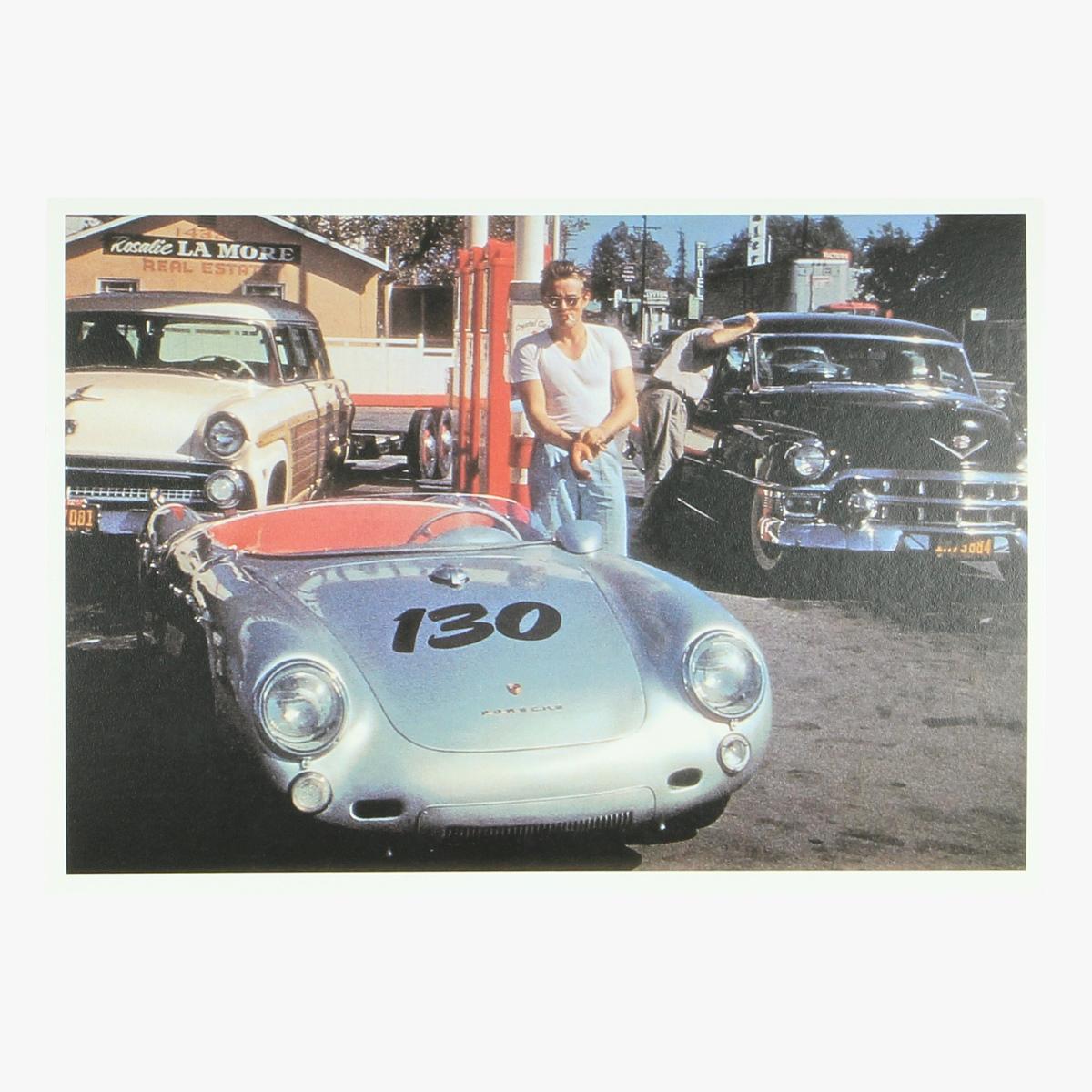 Afbeeldingen van postkaart James Dean and his porsche 550 spyder repro