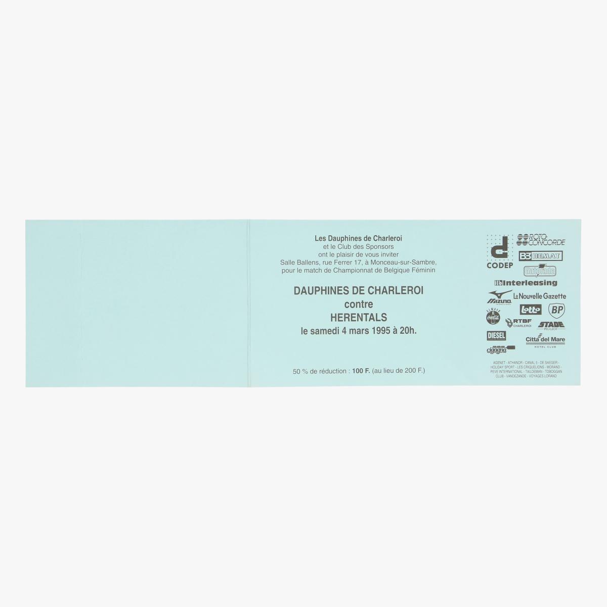 Afbeeldingen van ticket les dauphines de charleroi 4maart 1995