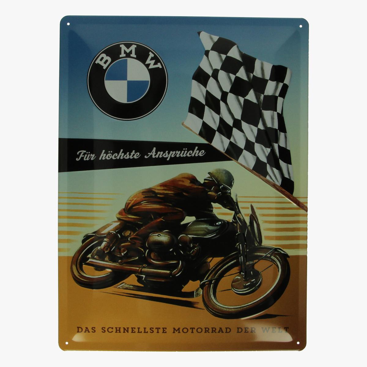 Afbeeldingen van blikken bord BMW motor repro