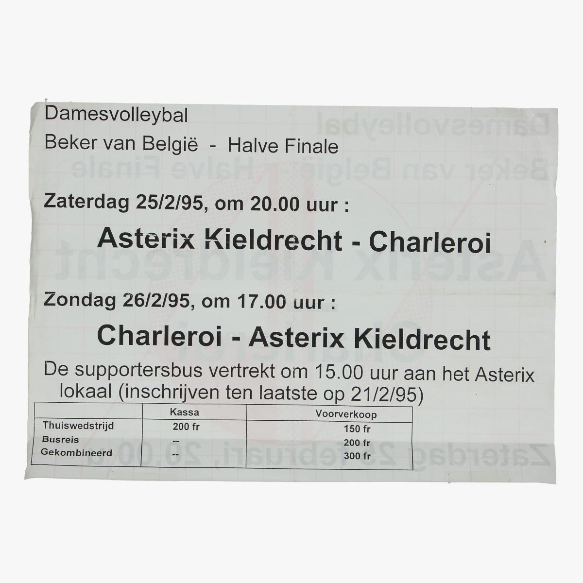 Afbeeldingen van affiche damesvolleybal beker van belgie 1/2 finale 25/2/95
