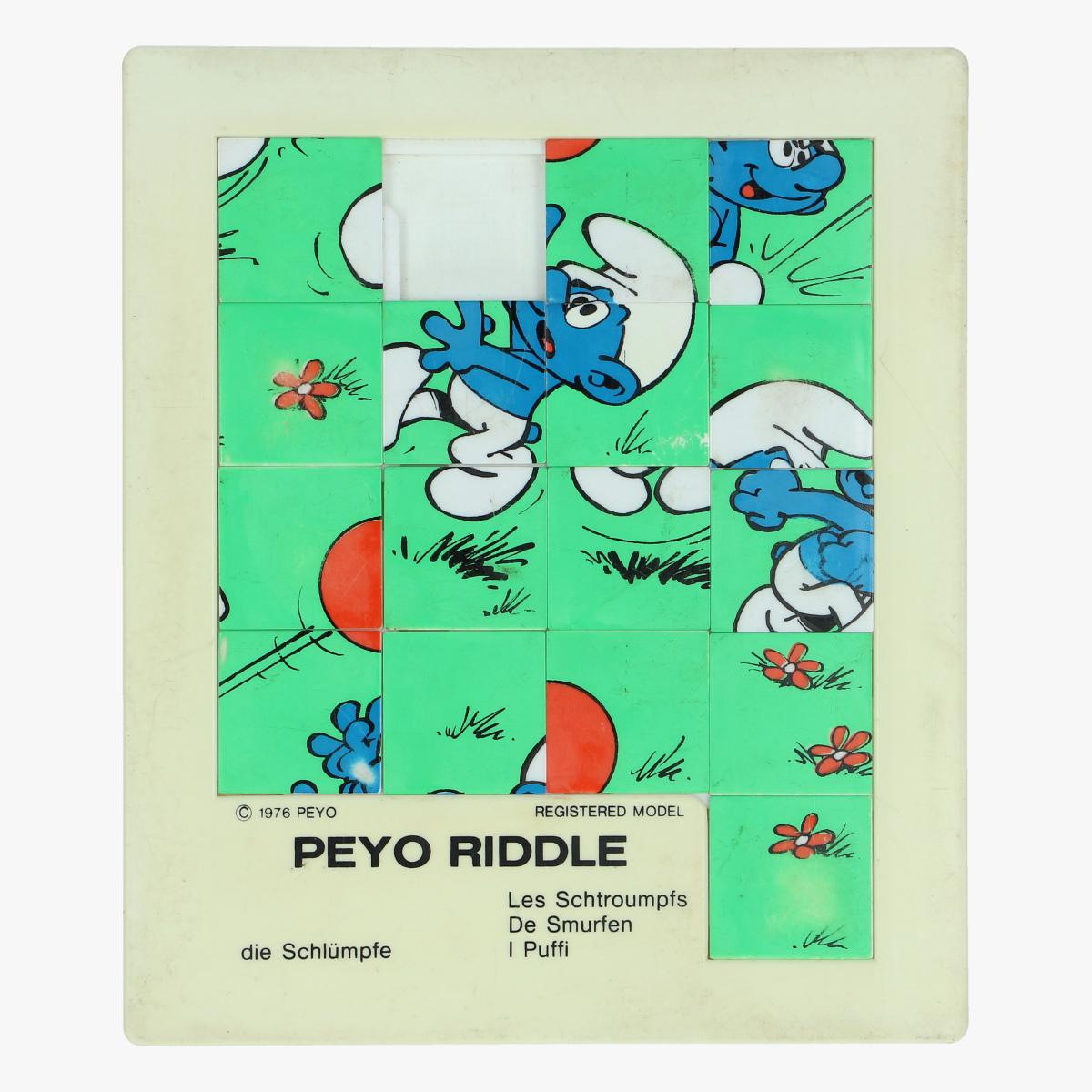 Afbeeldingen van de smurfen peyo riddle 1976 made in belgium