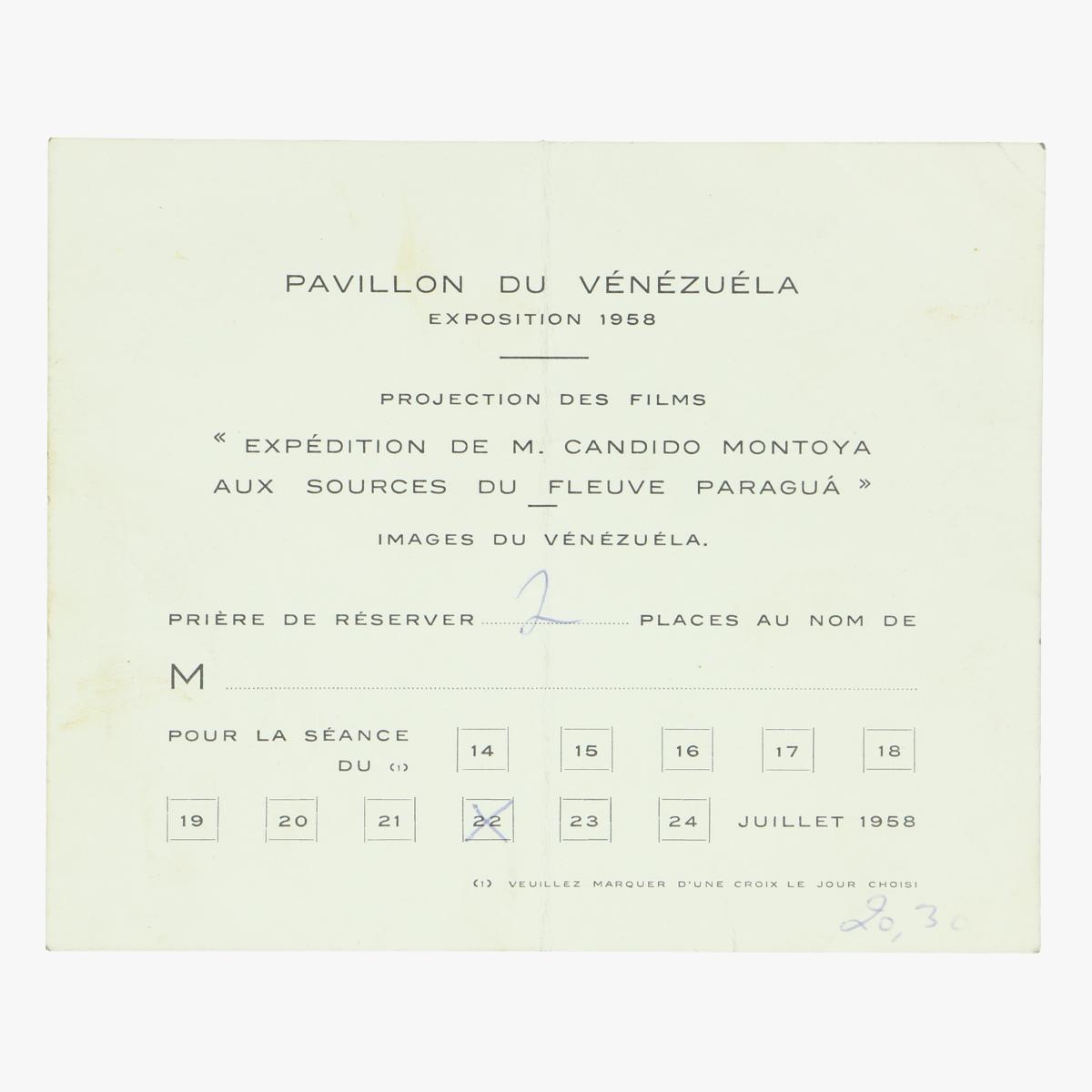 Afbeeldingen van ticket expo 58 pavillon du vénézuéla projection des films