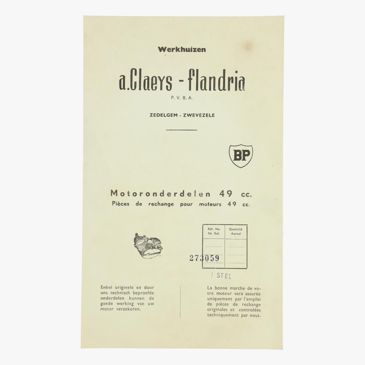 Afbeeldingen van werkhuizen a.Claeys-Flandria motoronderdelen 49 cc