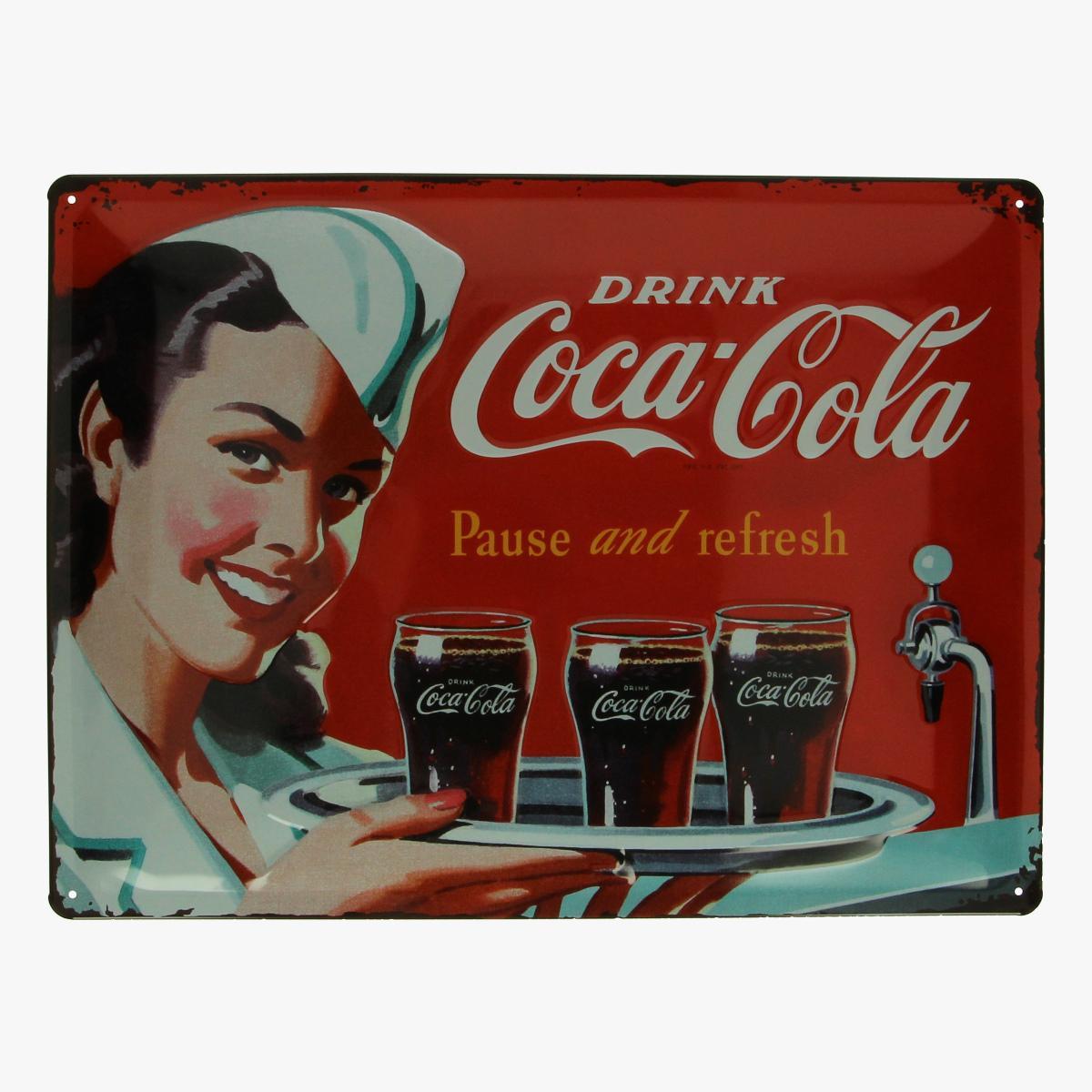 Afbeeldingen van blikken bordje coca cola