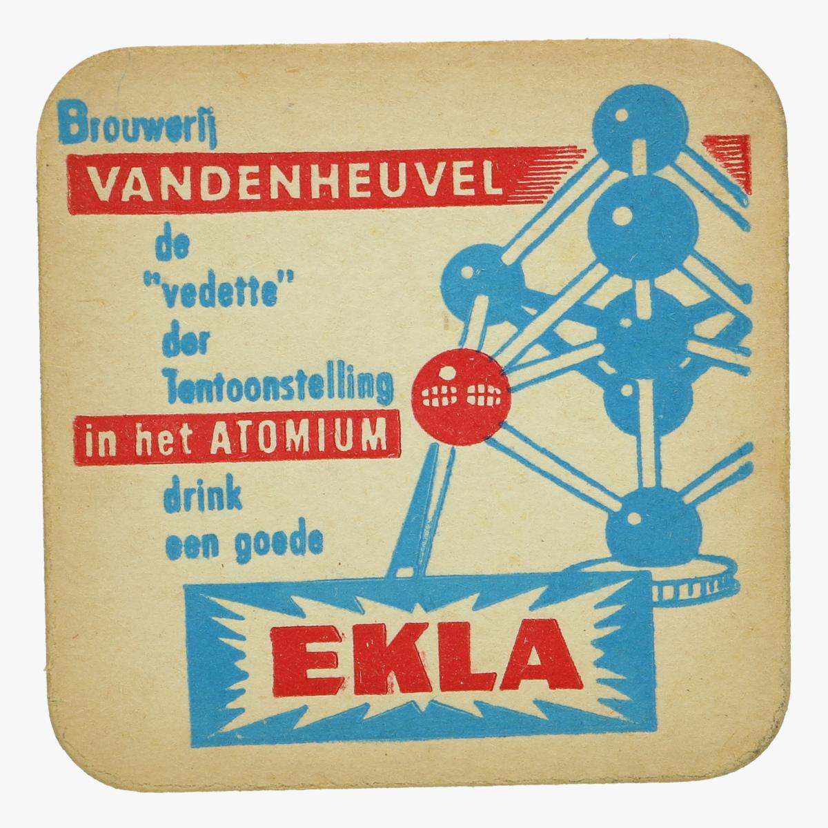 Afbeeldingen van expo 58 bierkaartje browerij vandenheuvel de vedette der tentoonstelling in het atomium  drink en goed ekla