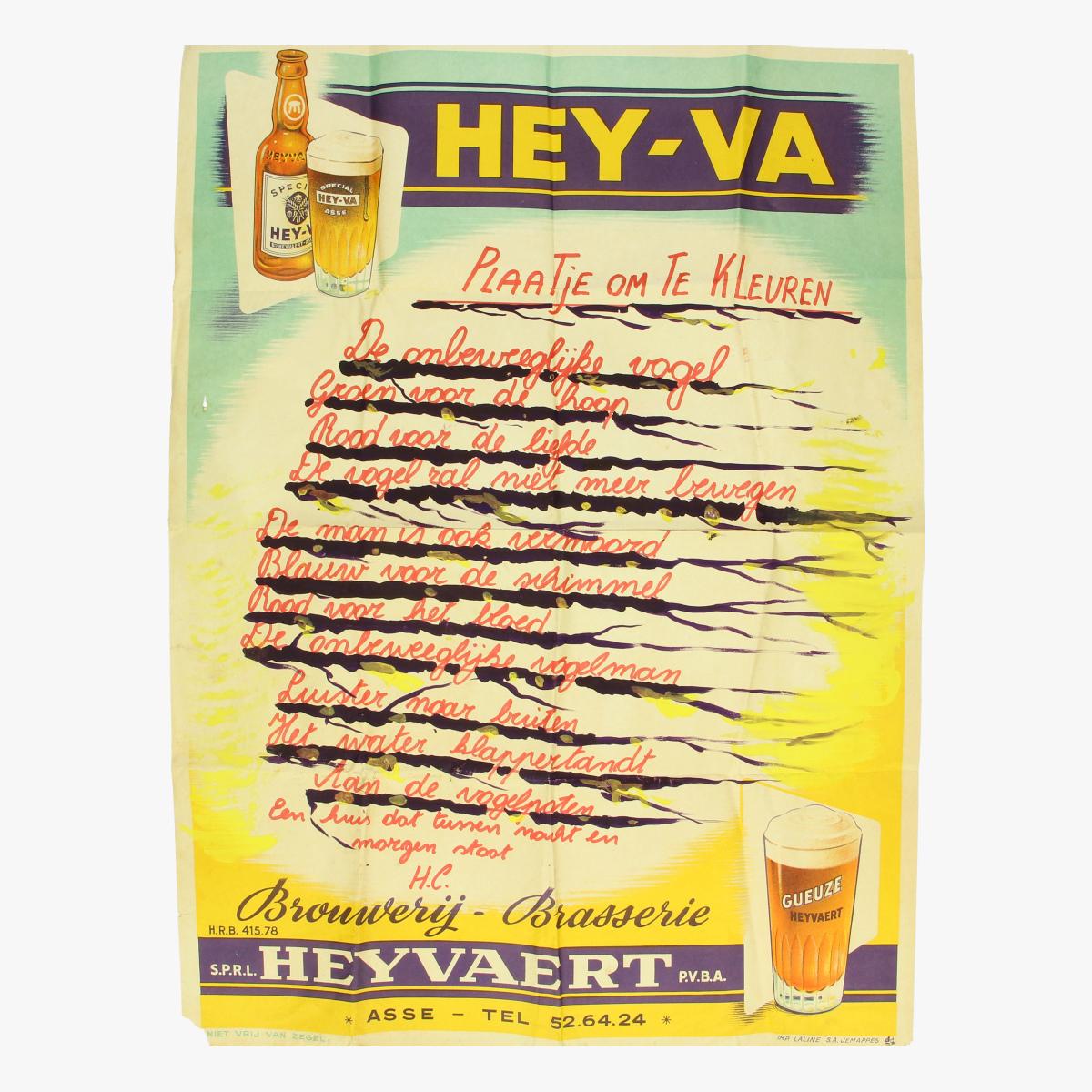 """Afbeeldingen van Poster Hey-Va Asse """" Plaatje om in te kleuren"""""""