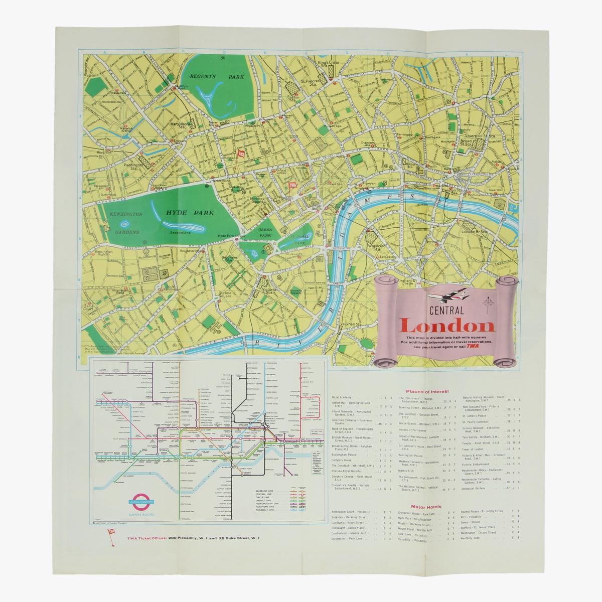 Afbeeldingen van folder when you fly twa - london - grondplan londen centrum