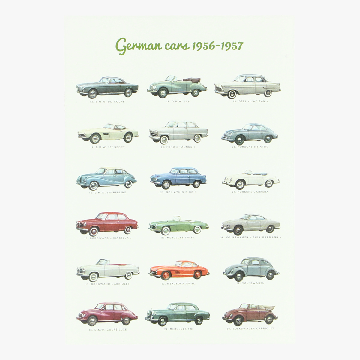 Afbeeldingen van postkaart german cars 1956-1957 repro
