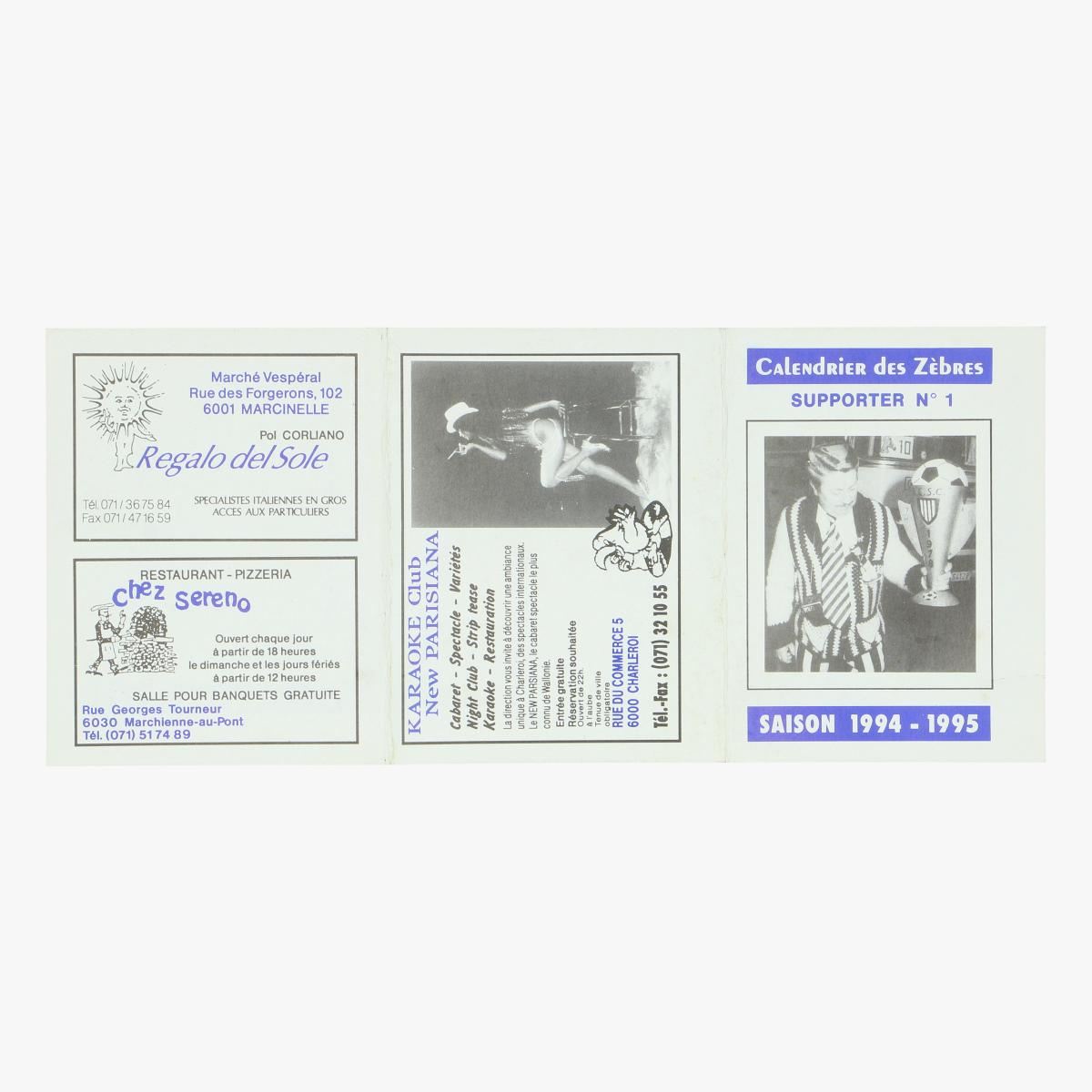 Afbeeldingen van kalender 94-95 royal charleroi sporting