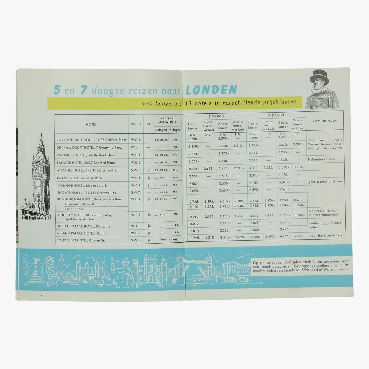 Afbeeldingen van expo 58 folder hotelreizen naar engeland 1958, reisbureau wirtz, antwerpen