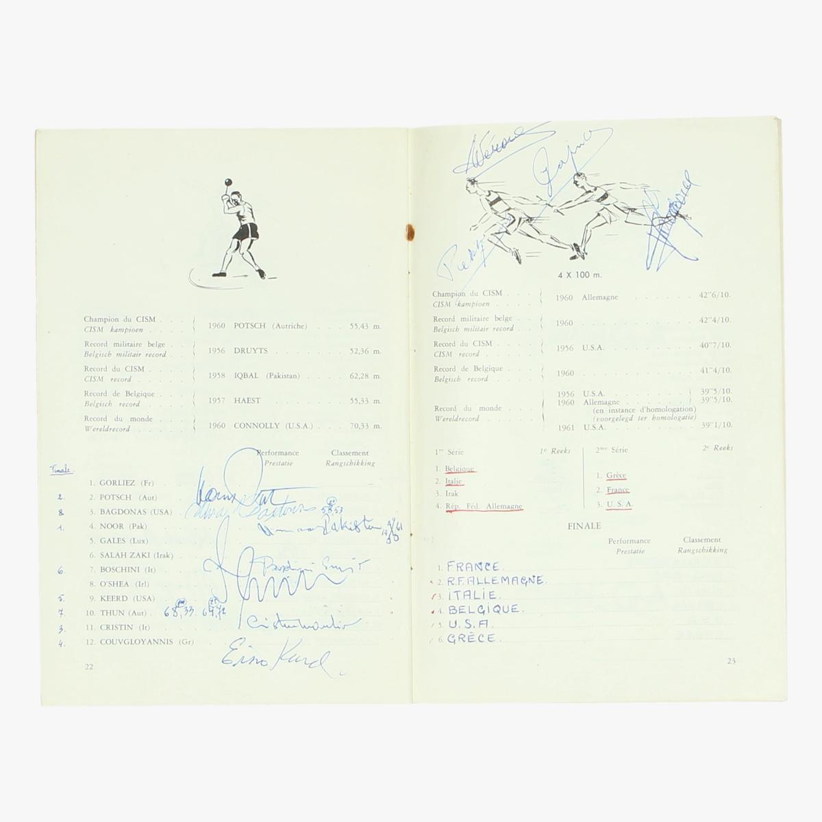 Afbeeldingen van championnat d'athletisme 1961 programma boekje en de uitslagen