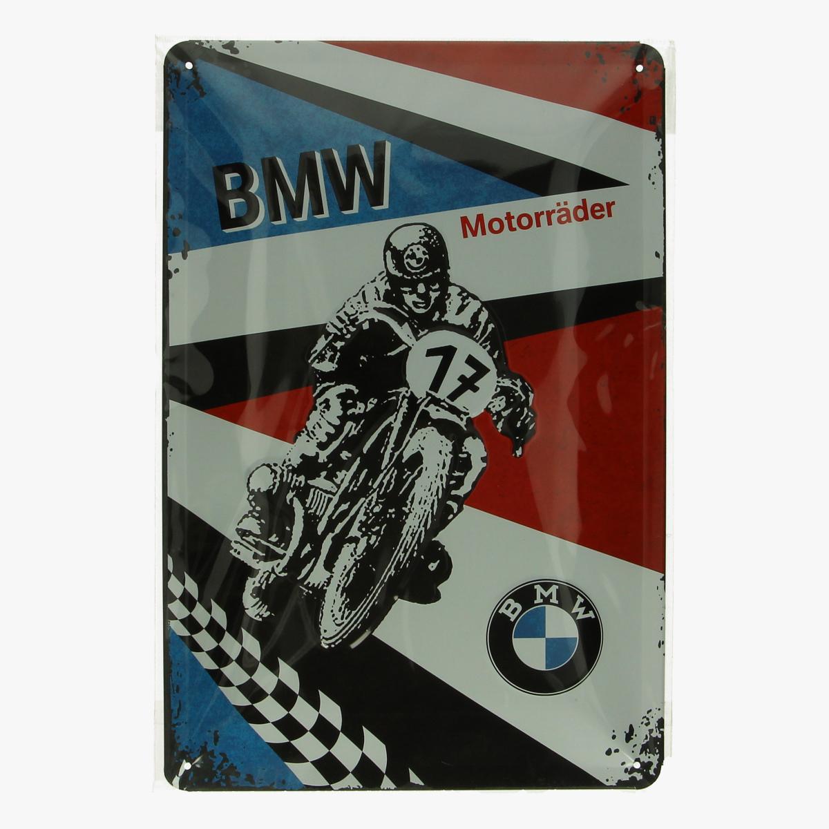 Afbeeldingen van blikken bordje BMW motorrijder geseald repro