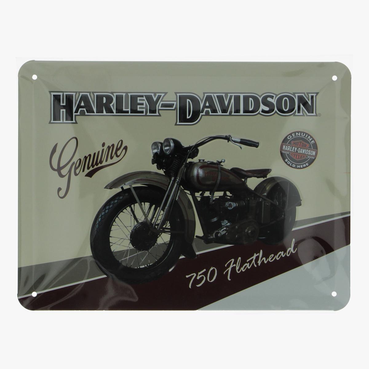 Afbeeldingen van blikken bordje Harley-Davidson 750 flathead repro