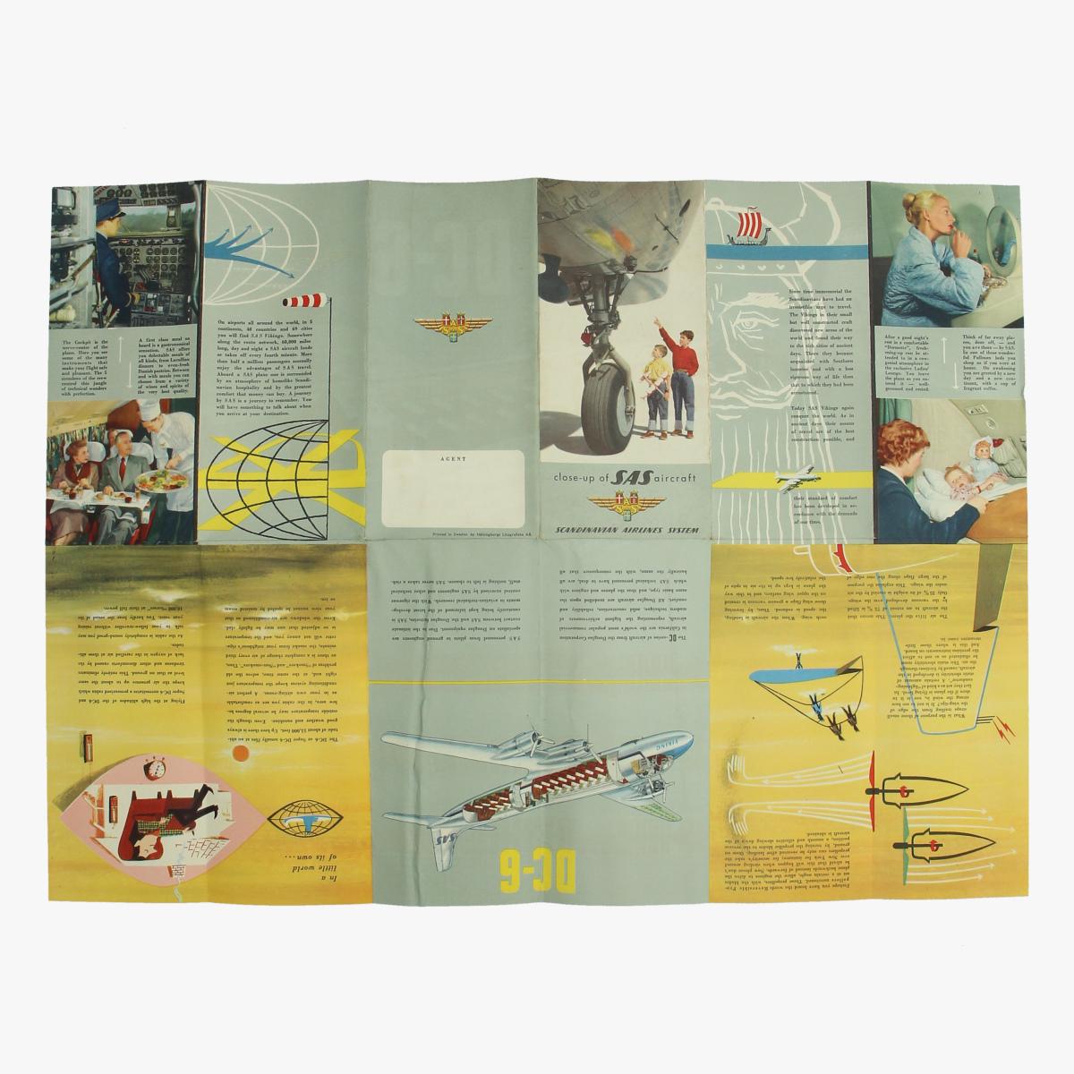 Afbeeldingen van folder close-up of sas aircraft scandinavian airlines system printed in sweden dc-6
