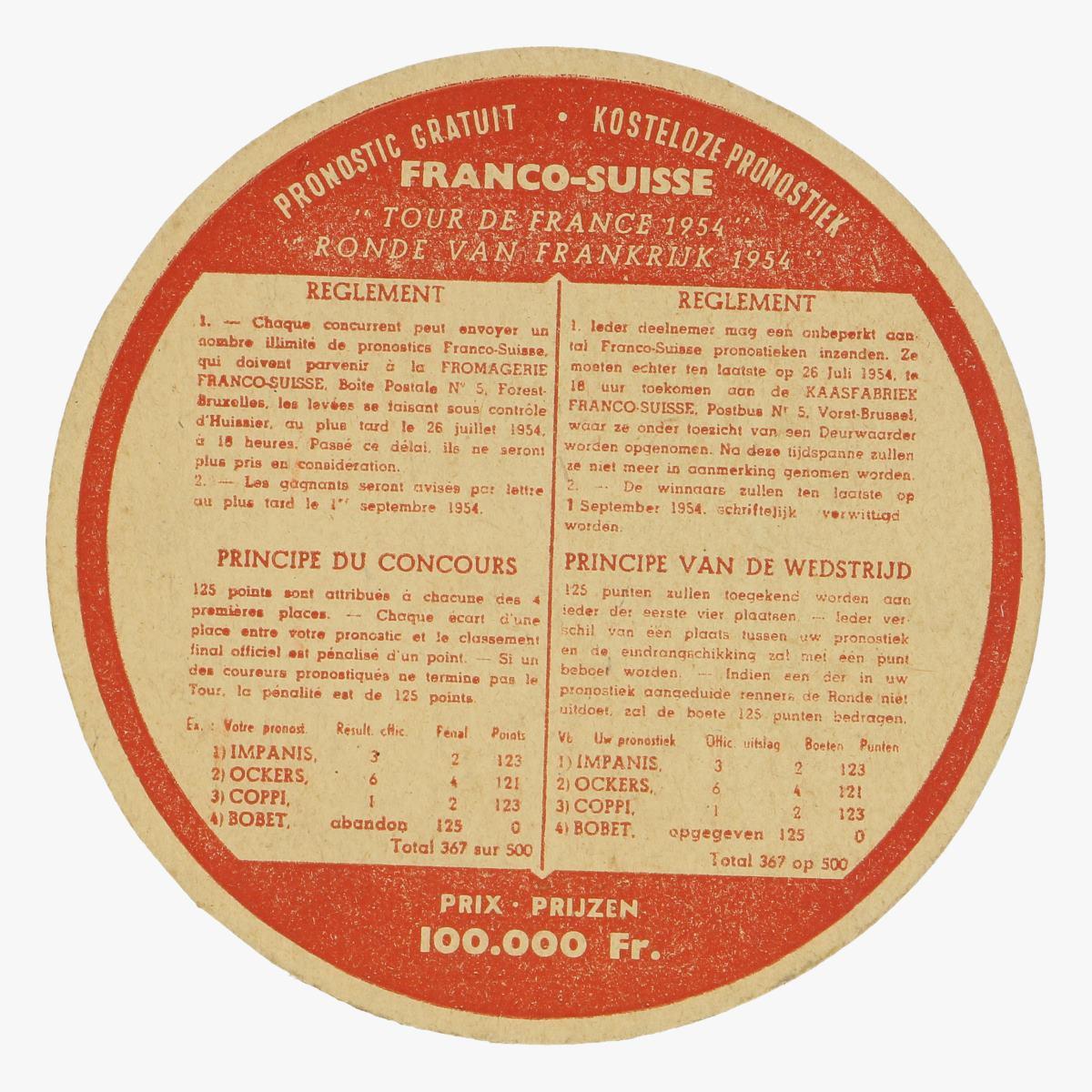 Afbeeldingen van deelnemingsbon promostiek tour de France 1954 bierkaartje