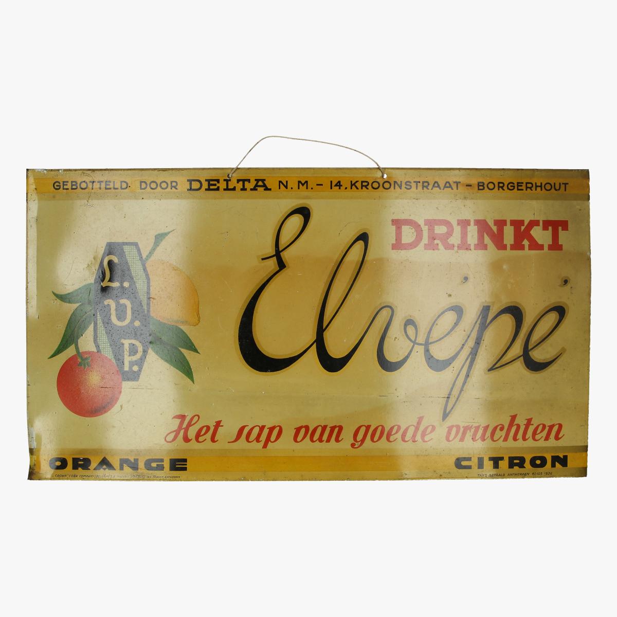 Afbeeldingen van blikken reclame bordje 1936 DRINKT Elvépé het sap van goede vruchten orange citron