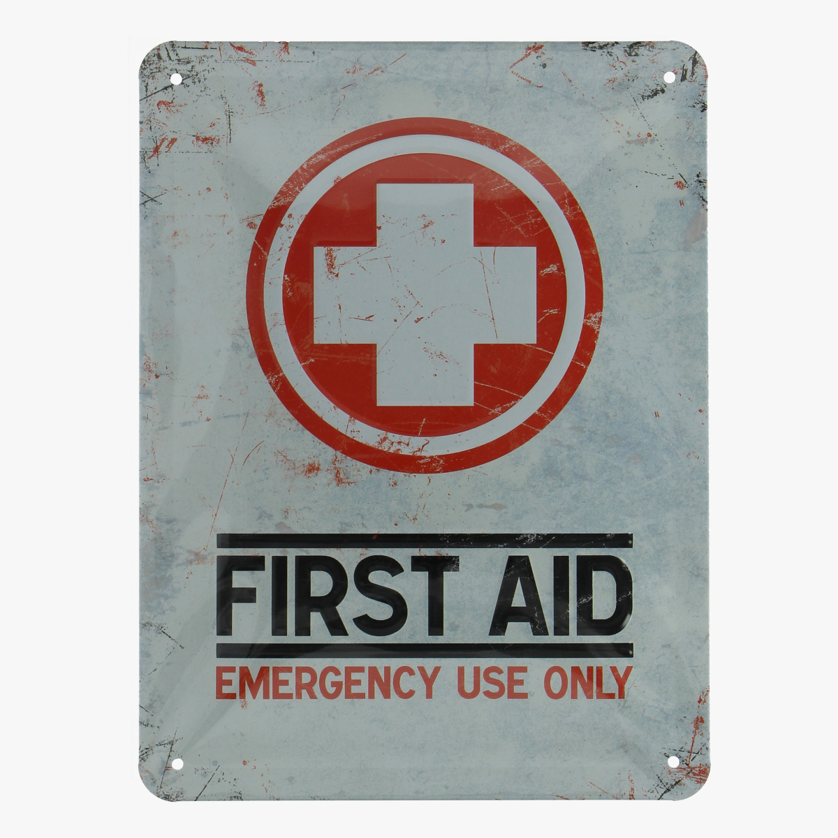 Afbeeldingen van blikken bordje first aid emergency use only