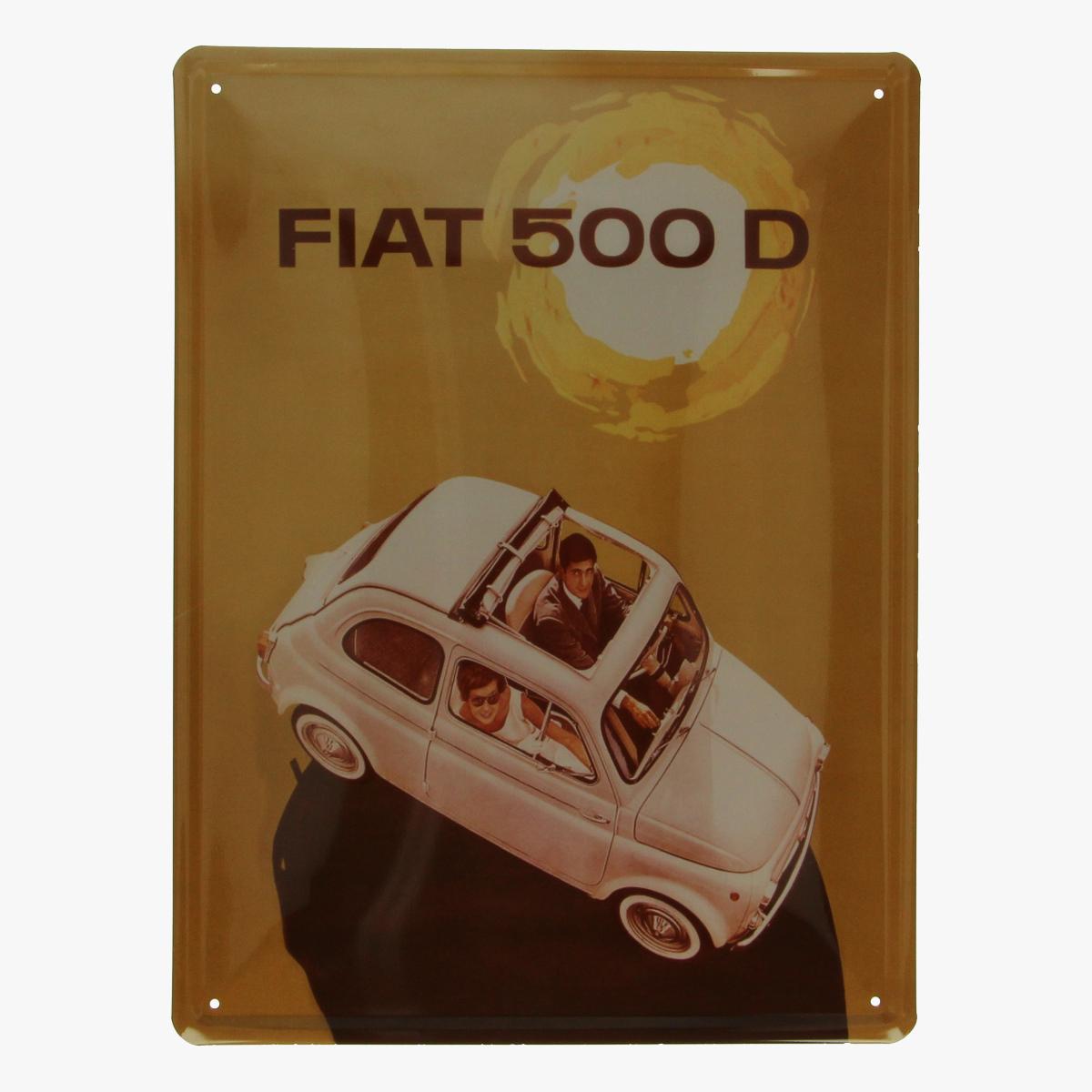 Afbeeldingen van blikken bordje fiat 500 D repro