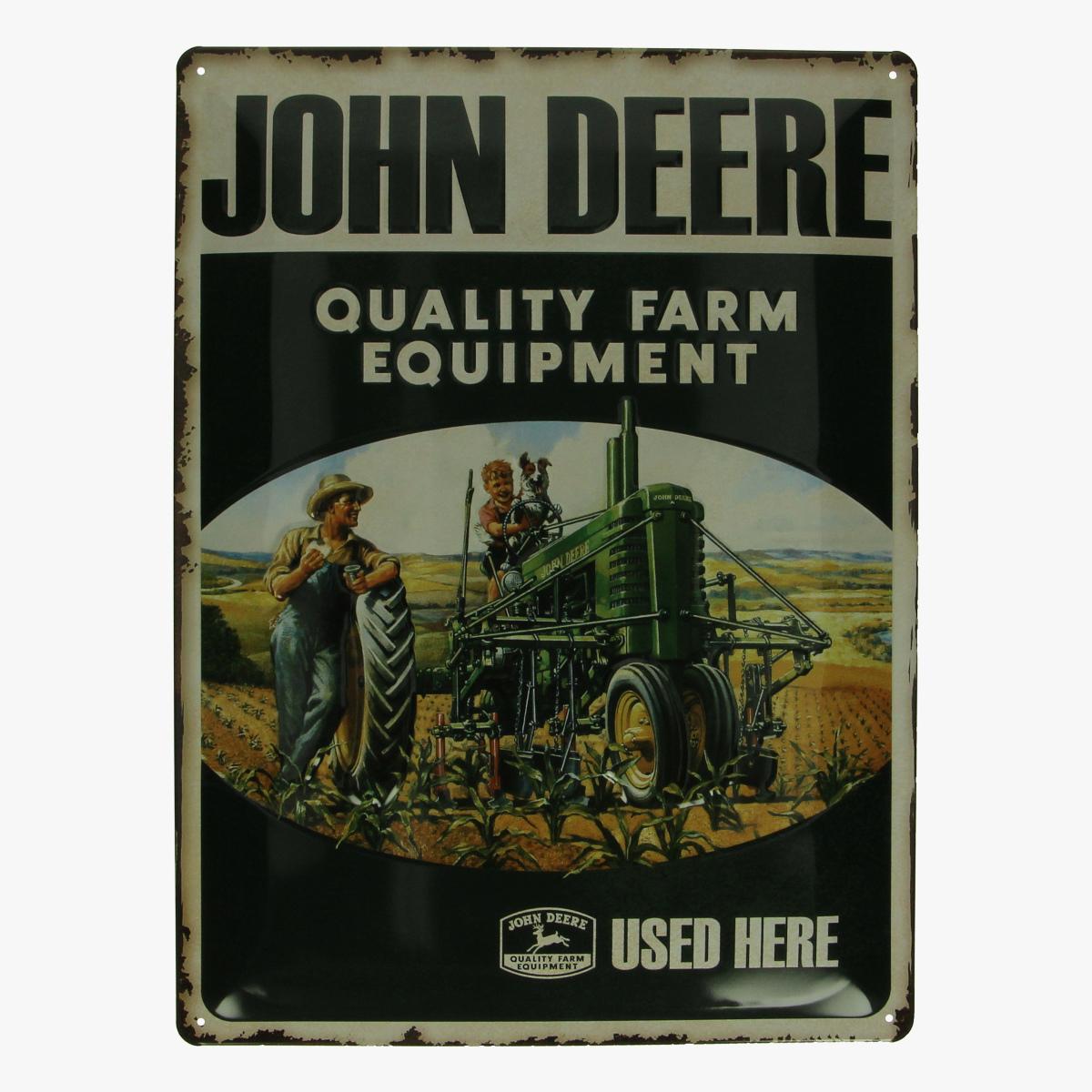 Afbeeldingen van blikken bord John Deere tractor repro