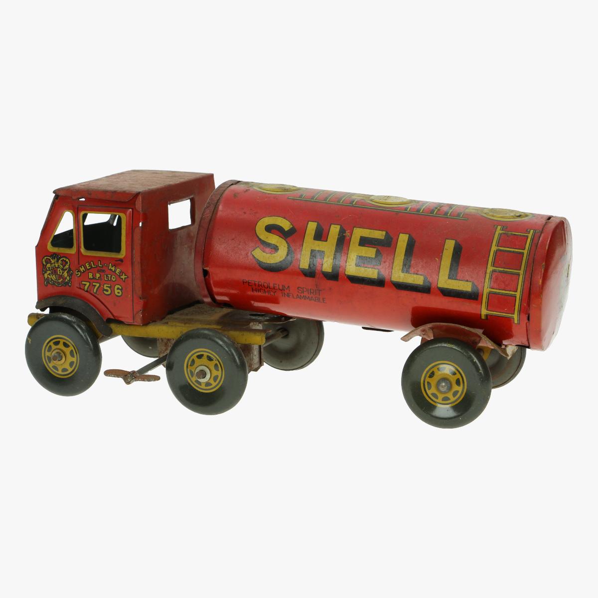 Afbeeldingen van oude blikken tankwagen shell made in GB