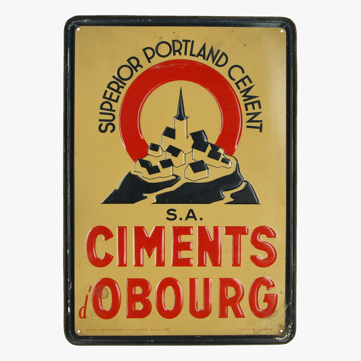 Afbeeldingen van blikken reclame bordje 1948 superior portland cement S.A CIMENTS d' OBOURG