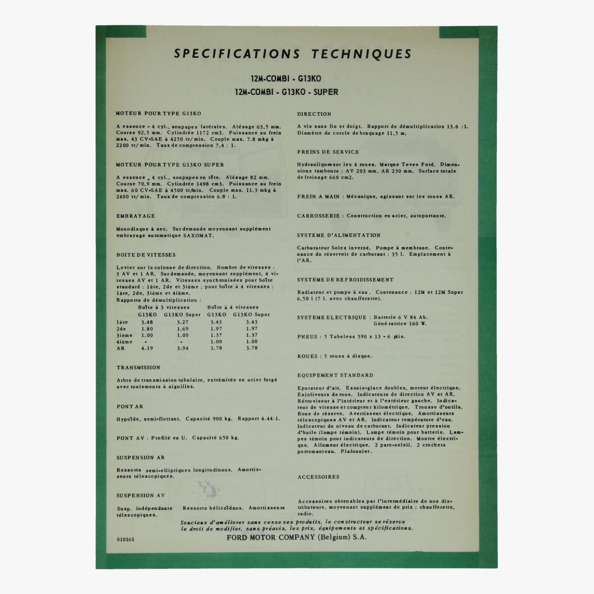 Afbeeldingen van specifications techniques ford taunus 12m combi - g13ko ford motor comp.