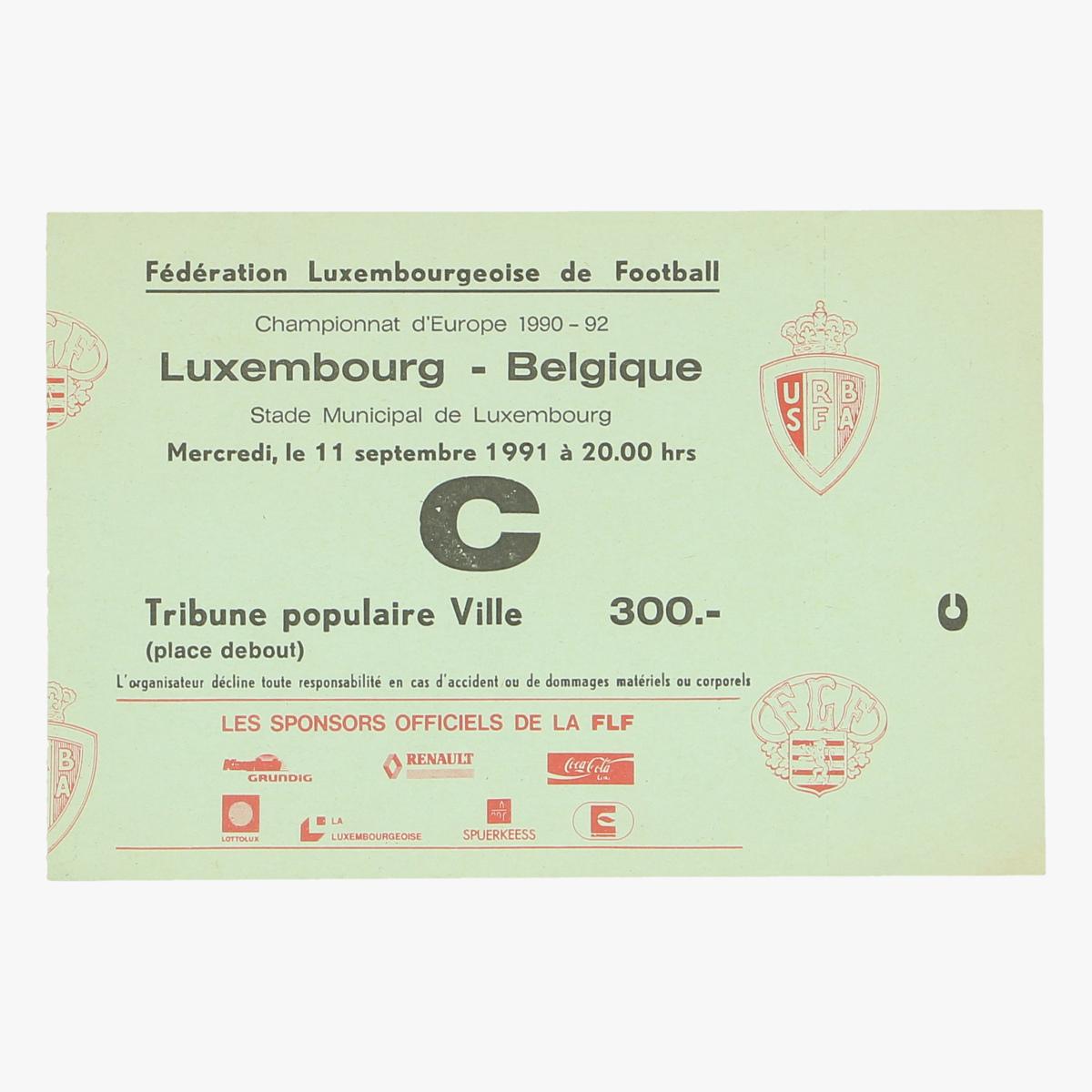 Afbeeldingen van ticket Luxembourg-Belgie championnat d'Europe 11sept 1990-92