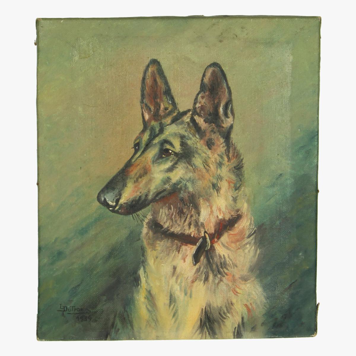 Afbeeldingen van Hond op doek L.Dutron 1939