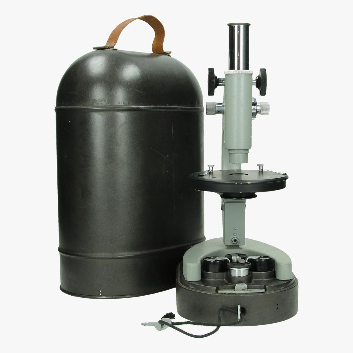 Afbeeldingen van militaire veld microscoop in metalen box, goede staat