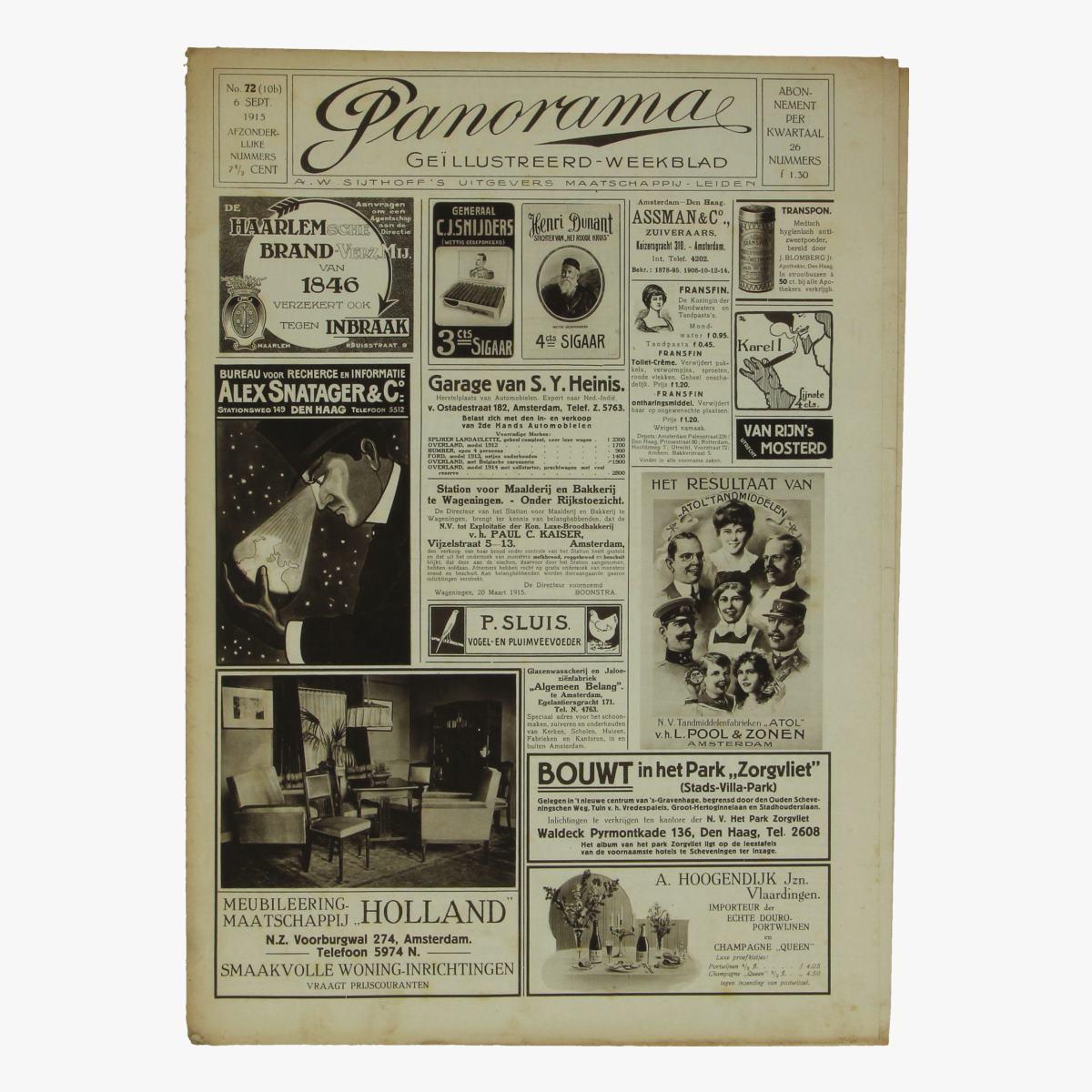 Afbeeldingen van oude weekblad panorama N°72 6 sept 1915