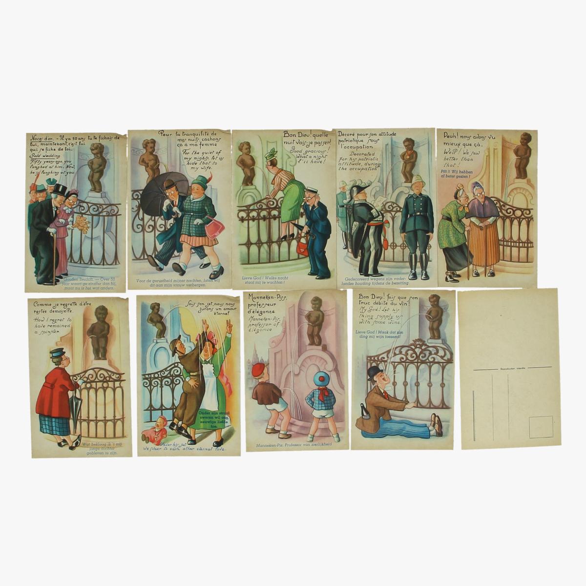 Afbeeldingen van mannekes-pis brusselt postkaarten 10 stuks serie 2 reeks