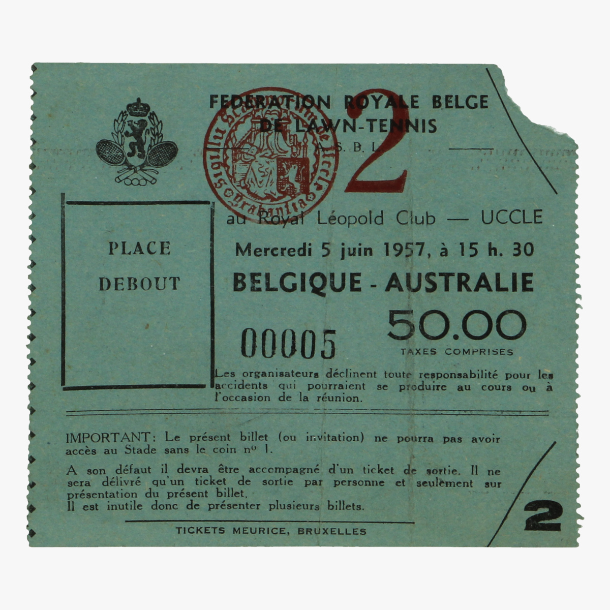 Afbeeldingen van tennis ticket belgique - australie 5 juni 1957