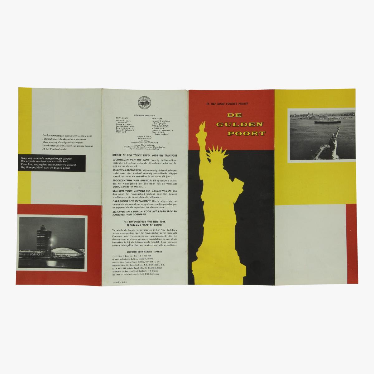 Afbeeldingen van folder new-york luchthaven - scheepvaartcentrum - spoorcentrum - centrum voor vervoer per vrachtwagen - zeehaven- de gulden poort -  printed in u.s.a.