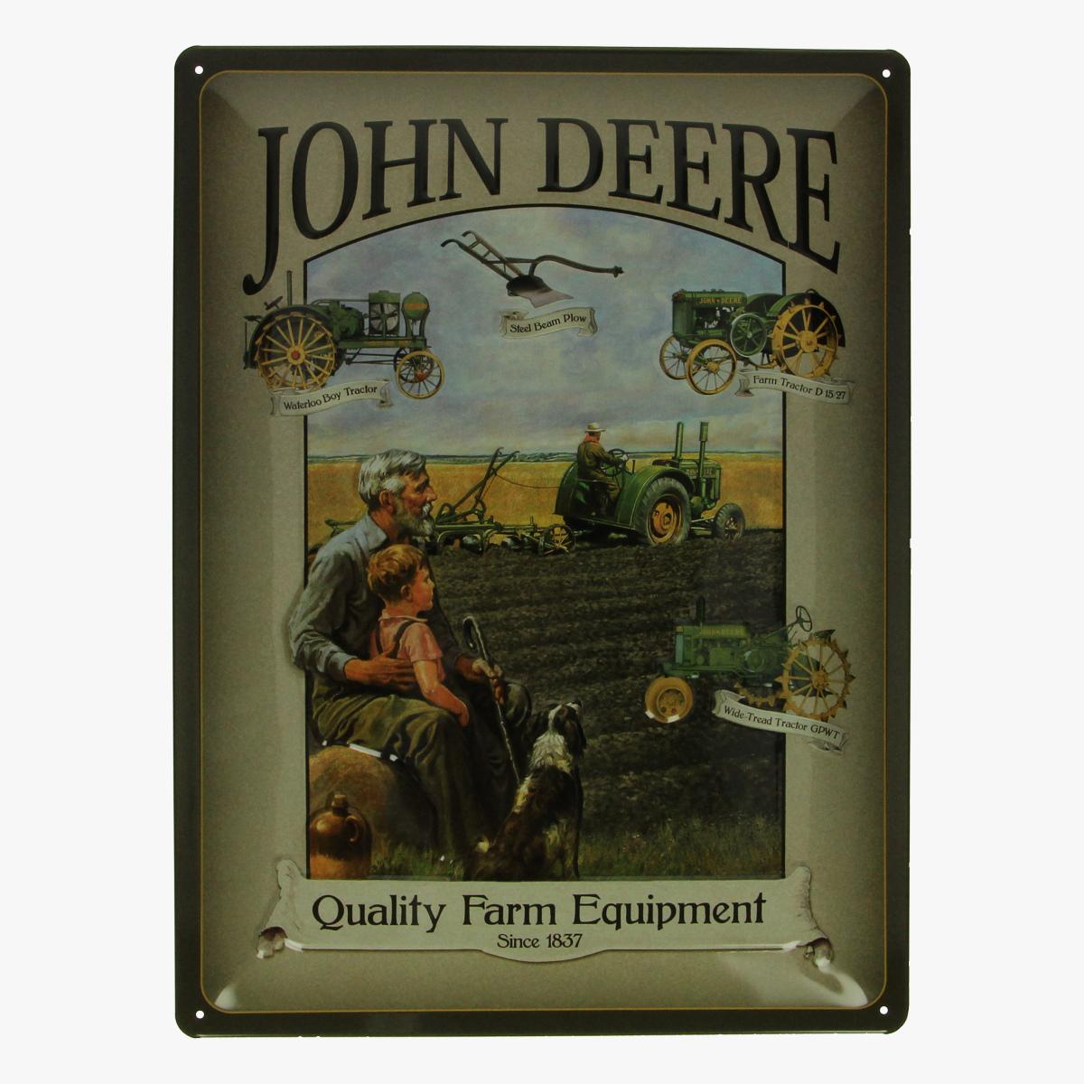 Afbeeldingen van blikken bordje John Deere tractor repro