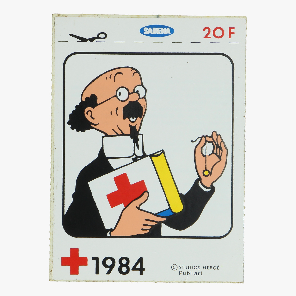 Afbeeldingen van sticker hergé, sabena, het belgische rode kruis 1984