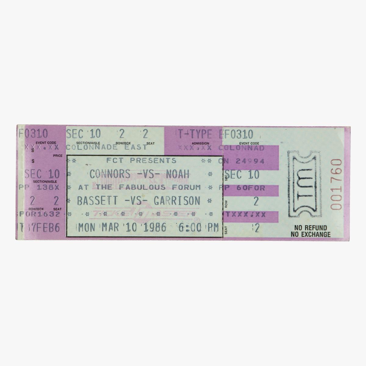 Afbeeldingen van tennis ticket connors -vs- noah 1986 and bassett -vs- garrison