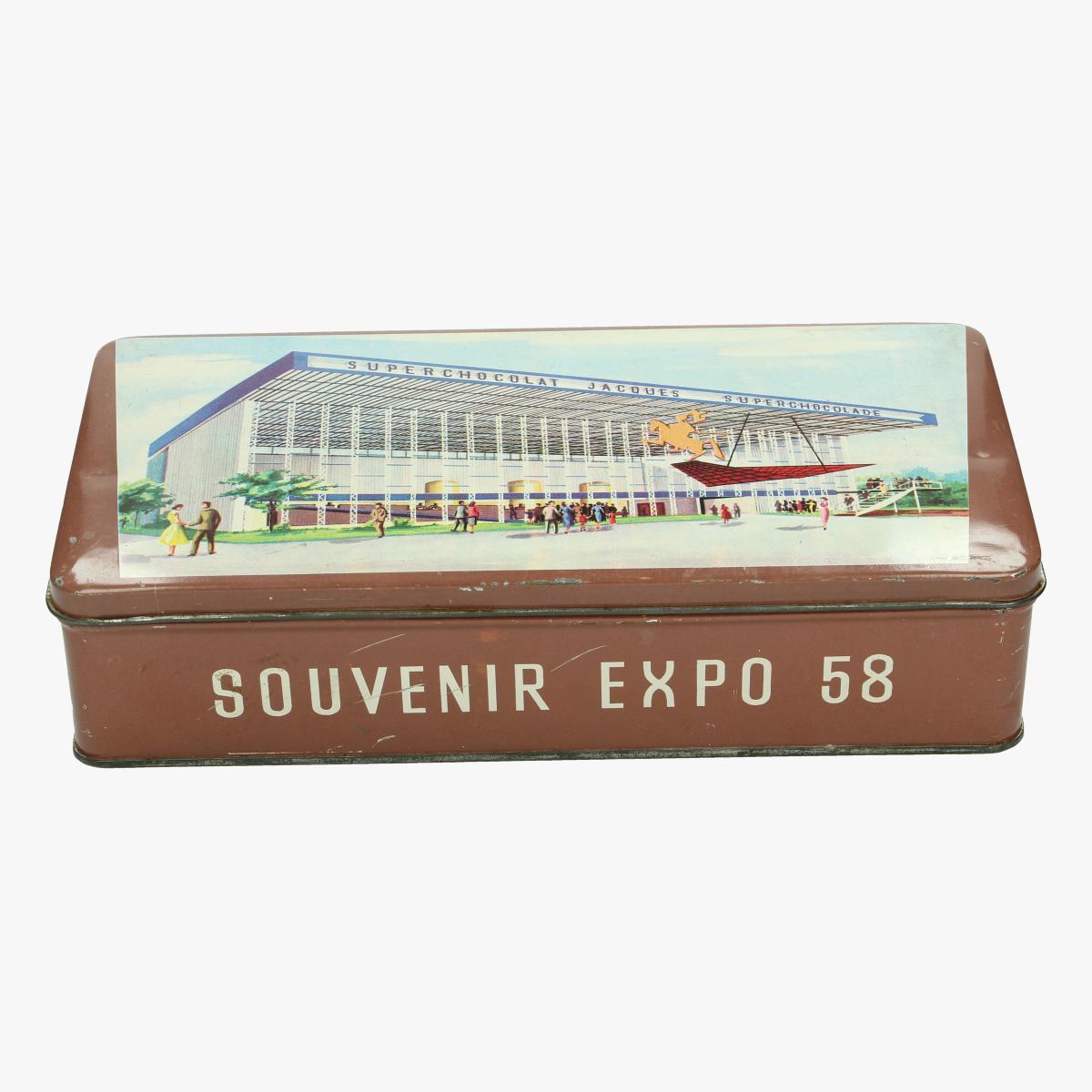 Afbeeldingen van blikken doos expo 58 superchocolade jacques