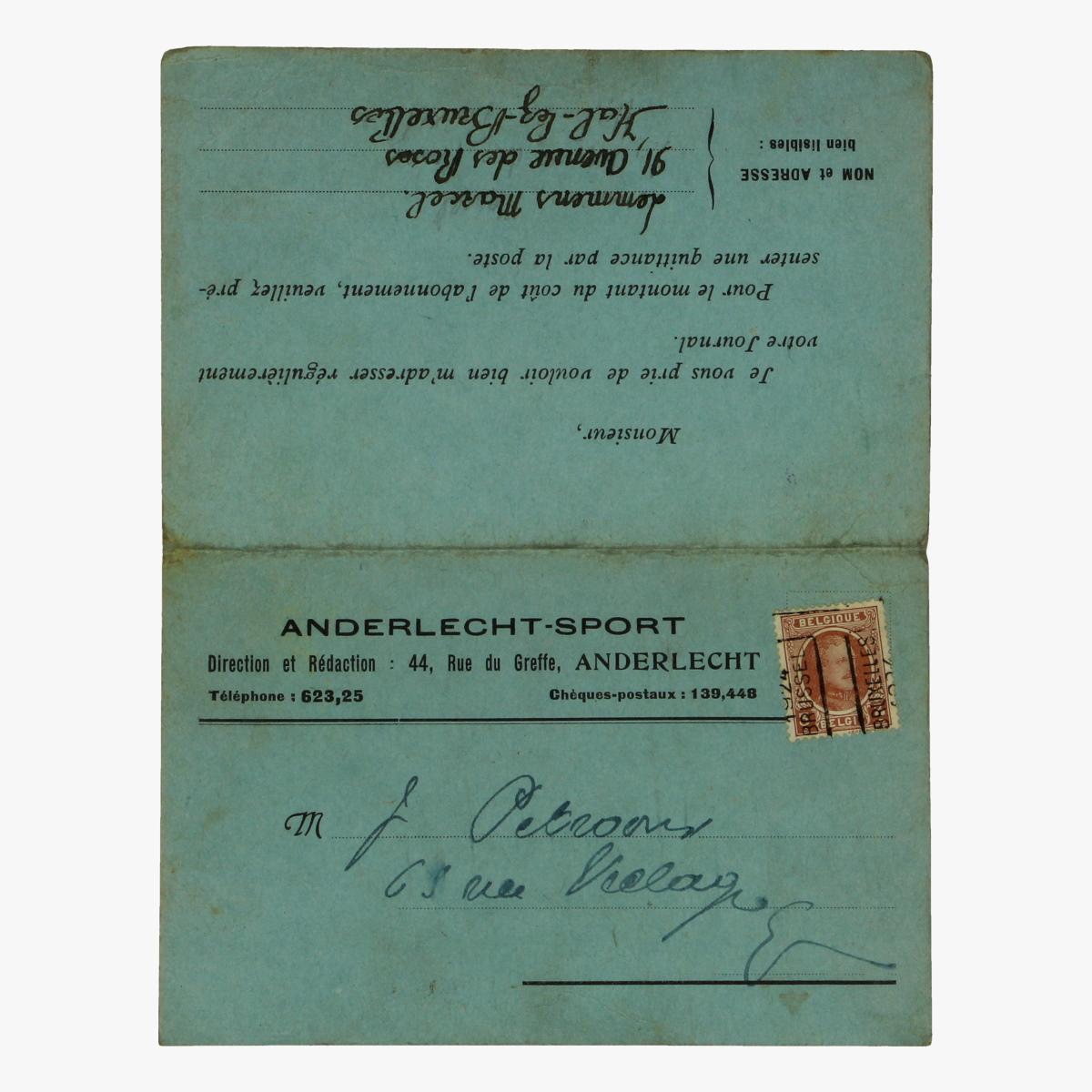 Afbeeldingen van aanvraag formulier voor dagblad anderlechtsport 1924