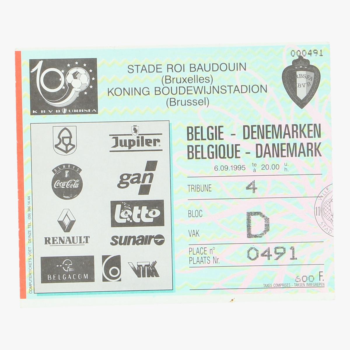 Afbeeldingen van voetbalticket Belgie-Denemarken 6.09.1995