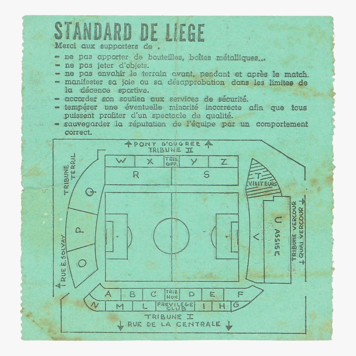 Afbeeldingen van voetbalticket standard de liege
