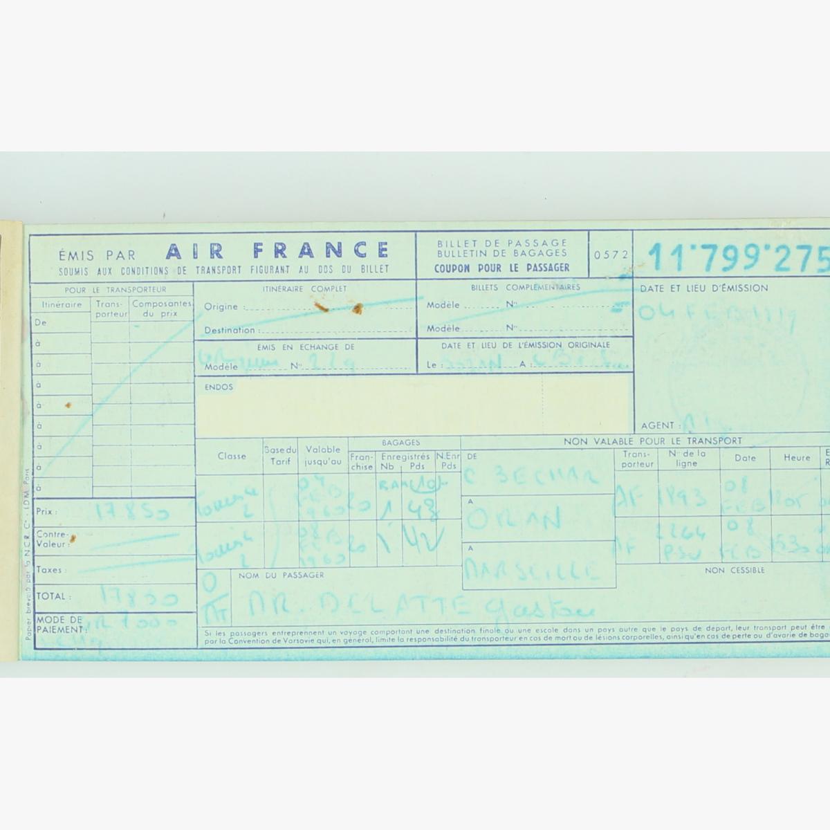 Afbeeldingen van air france passagier ticket 1957