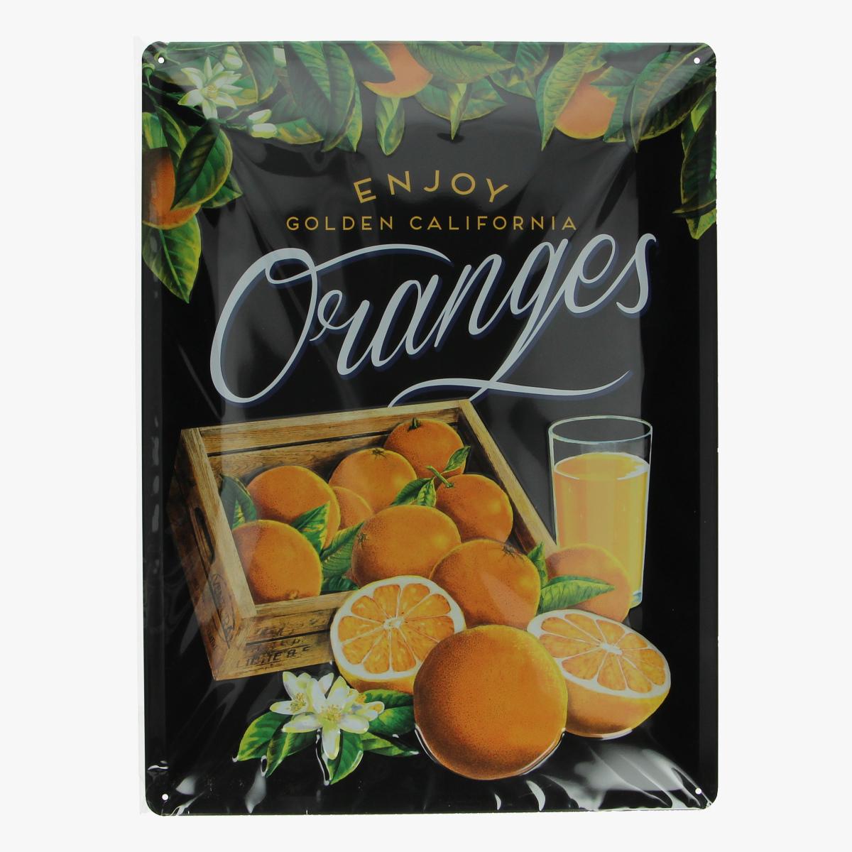 Afbeeldingen van blikken bord enjoy golden California oranges repro geseald