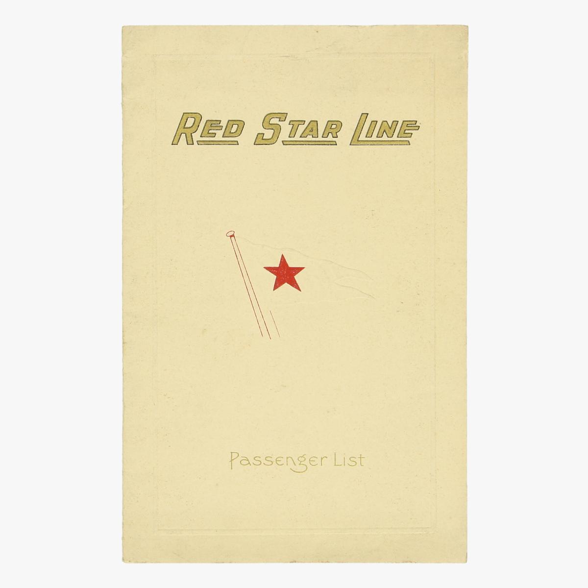 Afbeeldingen van passenger list Red Star Line