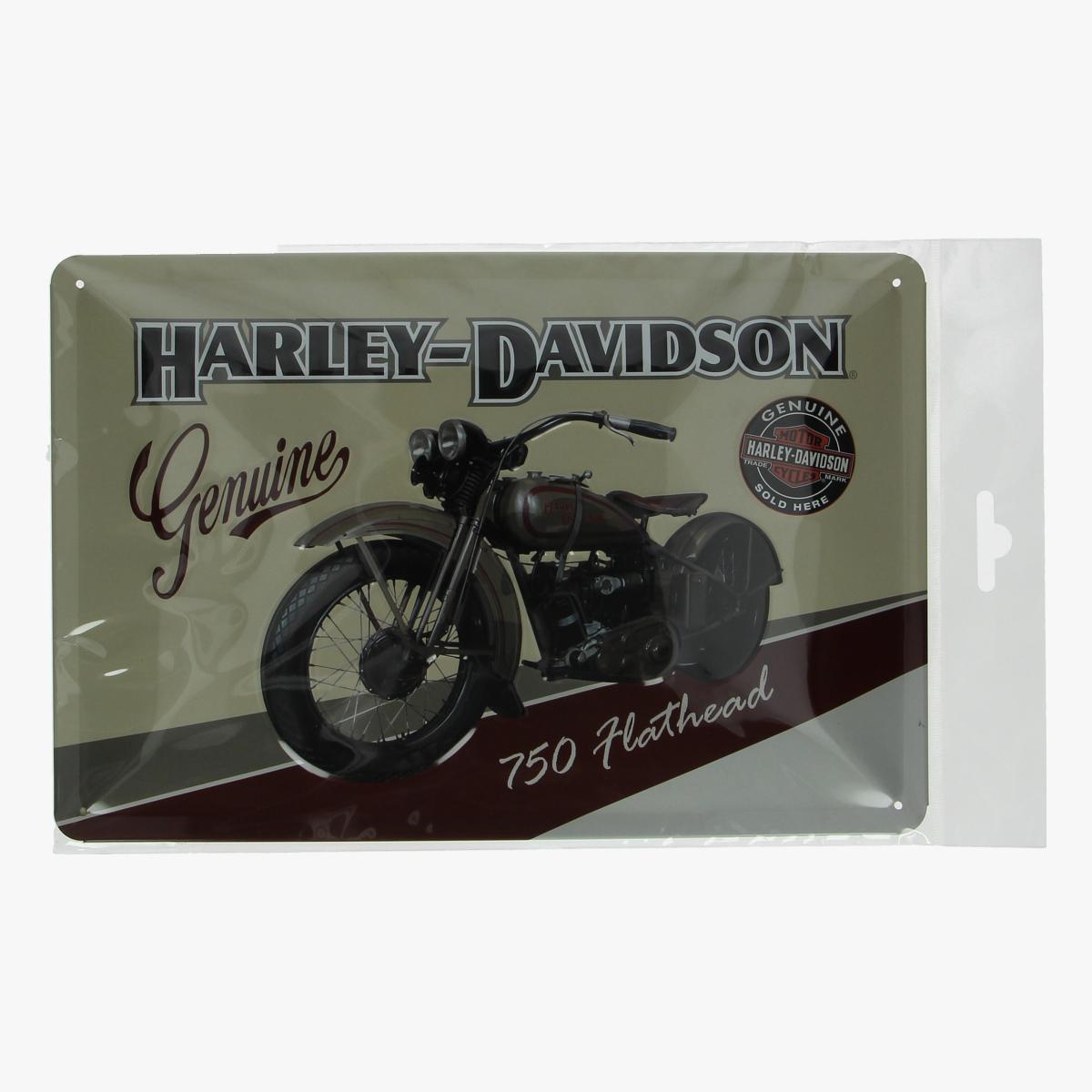 Afbeeldingen van blikken bordje Harley-Davidson geseald