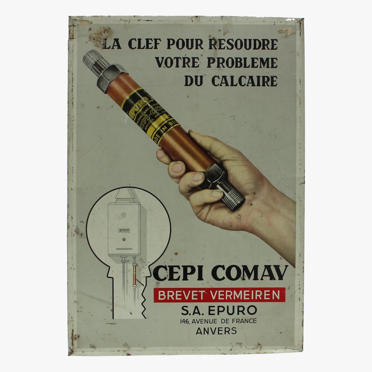 Afbeeldingen van blikken reclame la clef pour resoudre votre probleme du calcaire CEPI COMAV brevet vermeiren S.A.EPURO 146.avenue de france  ANVERS