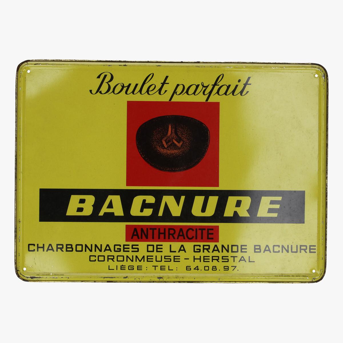 Afbeeldingen van blikken reclame bordje 1964 Boulet parfait BACNURE ANTHRACITE  TAX PAYEE ANVERS 512_1073