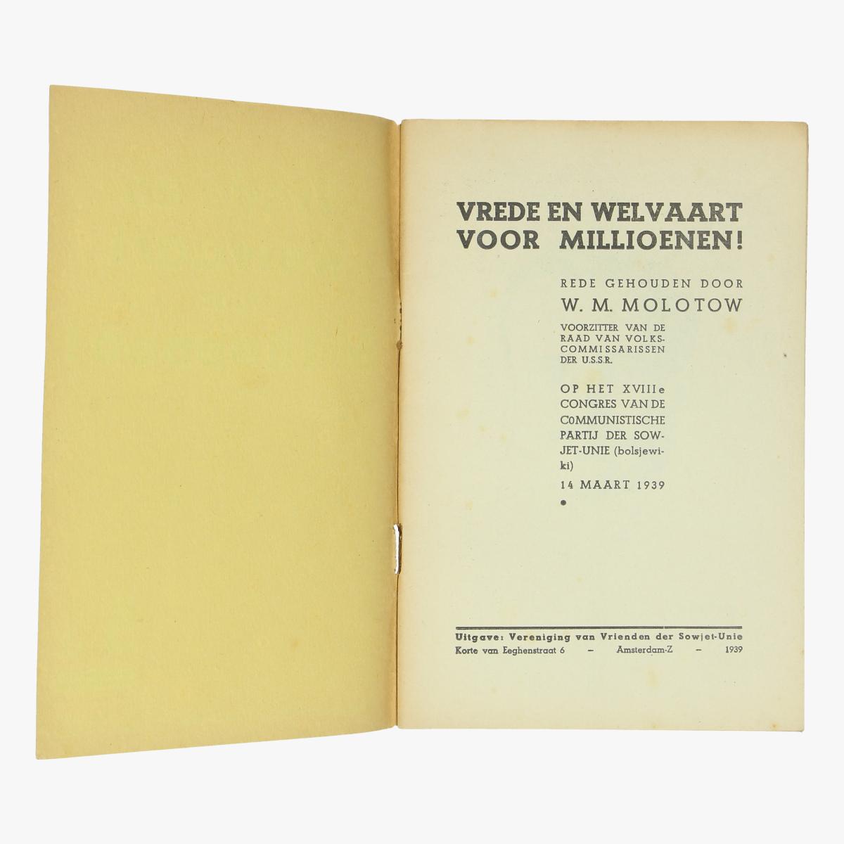 Afbeeldingen van boekje vrede en welvaart voor millioenen uitgave ver.v.vriendender sowjet-unie